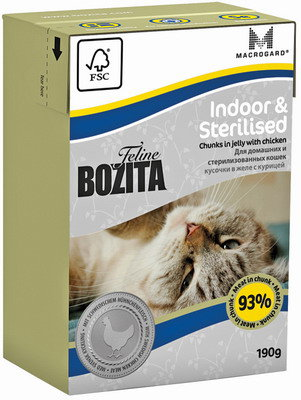 BOZITA Feline Funktion Indoor & Sterilised Tetra Pak конс.190 г кус. в желе с курицей
