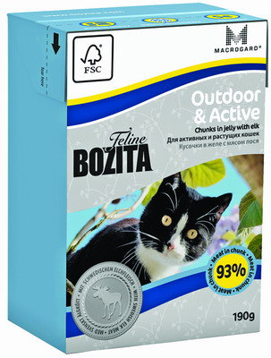 BOZITA Feline Funktion Outdoor & Active Tetra Pak конс.190 г кус. в желе с мясом лося