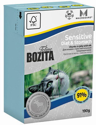 BOZITA Feline Funktion Diet & Stomach Tetra Pak конс.190 г кус. в желе с мясом лося