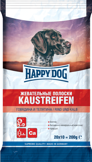 HAPPY DOG 200 г жевательные полоски для собак говядина телятина