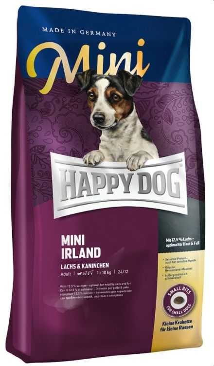 HAPPY DOG SUPREME Mini Irland для собак мелких пород Лосось и Кролик сухой 1 кг