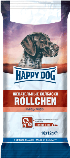 HAPPY DOG 120 г жевательные колбаски для собак с рубцом
