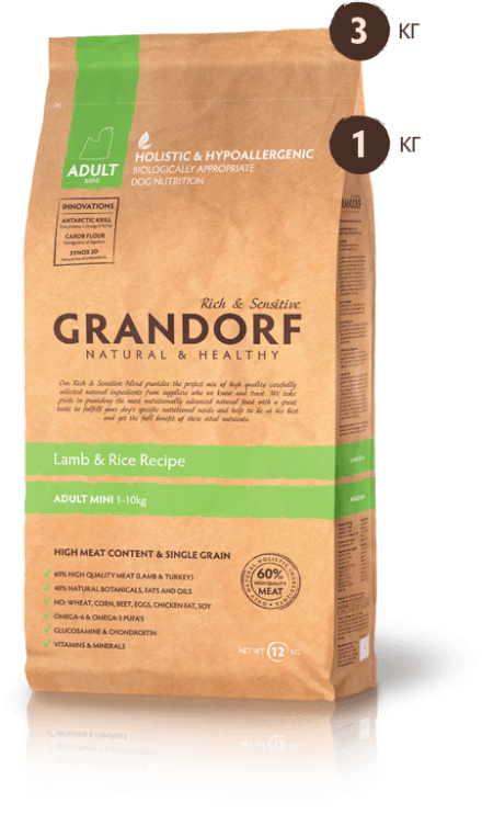 GRANDORF DOG Lamb&Rise Mini ягненок с рисом для собак мини пород 3 кг