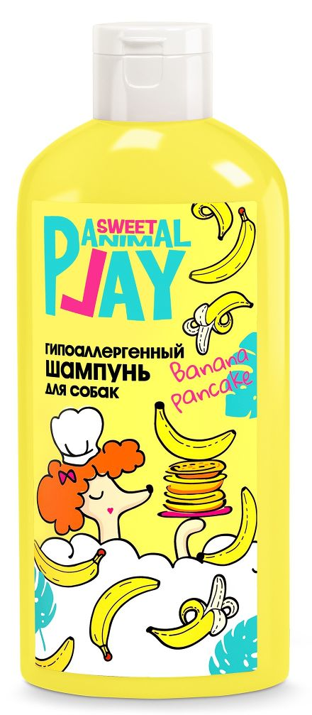 ANIMAL PLAY SWEET Гипоаллергенный 300 мл шампунь для собак банановый панкейк
